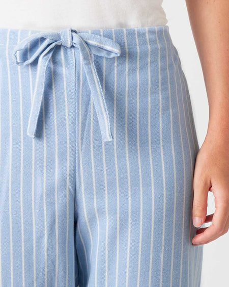 Women's Brushed Cotton Pyjama Trousers - Classic Blue Stripe