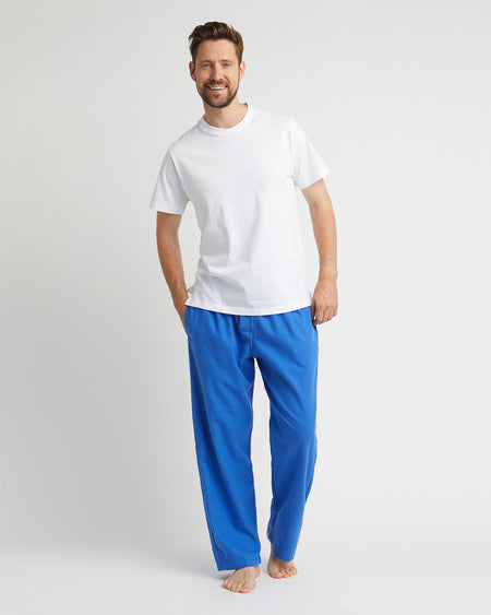 Men's Brushed Cotton Pyjama Trousers - Bright Blue