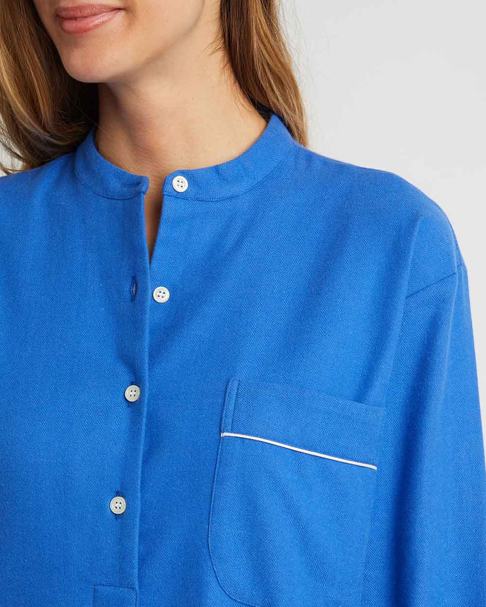Women's Brushed Cotton Grandad Nightshirt - Bright Blue