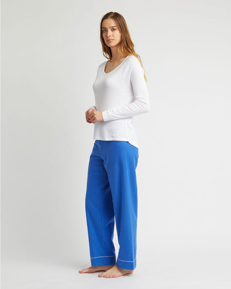 Women's Brushed Cotton Pyjama Trousers - Bright Blue