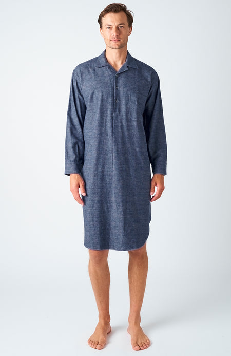 Men's Bude Brushed Cotton Nightshirt | Bonsoir of London