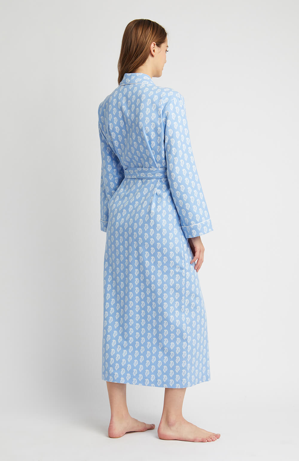 Brushed Pastel Gown (bldg) - Blue Paisley | Bonsoir of London