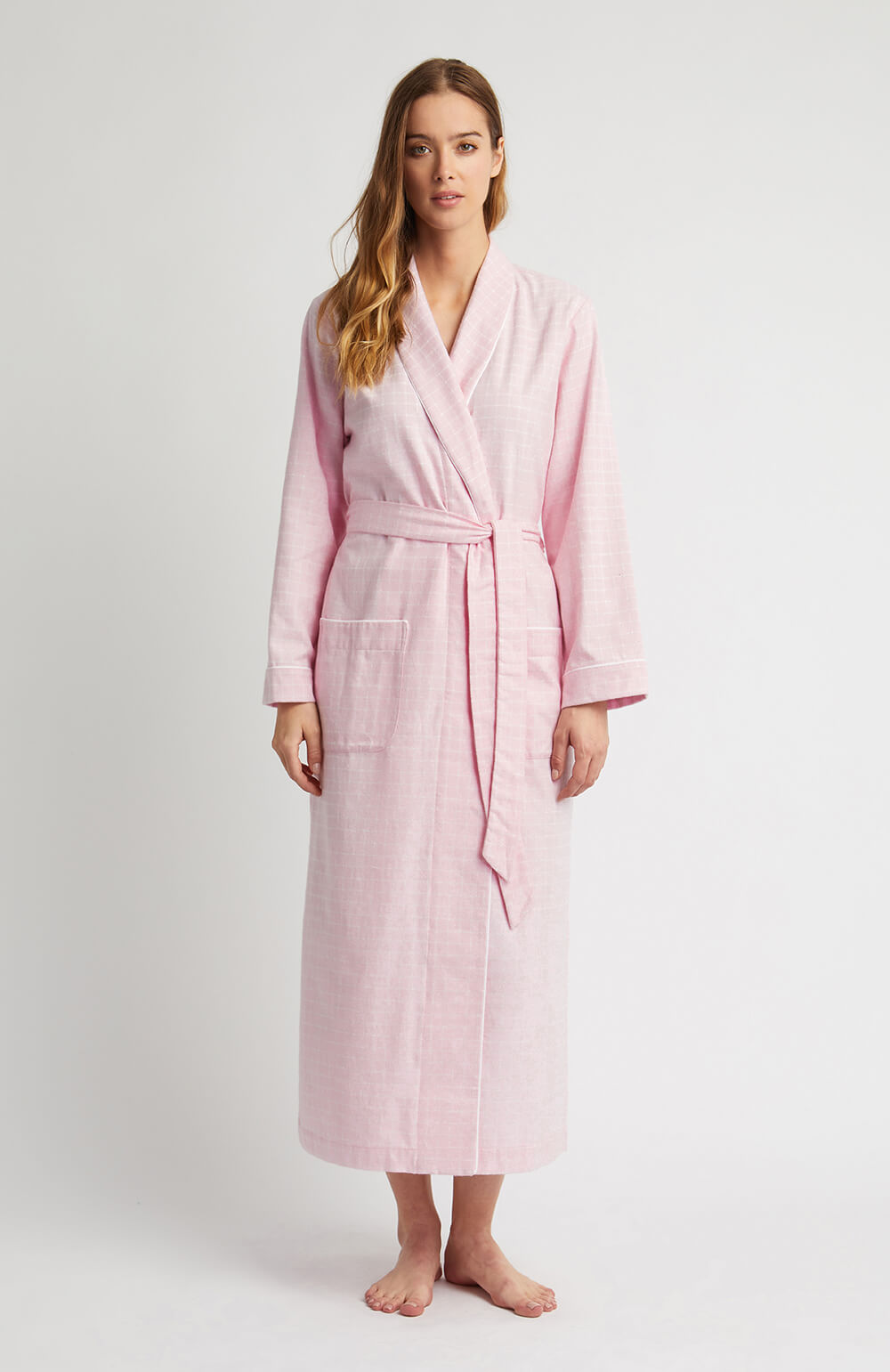 Brushed Pastel Gown (bldg) - Pink Check | Bonsoir of London