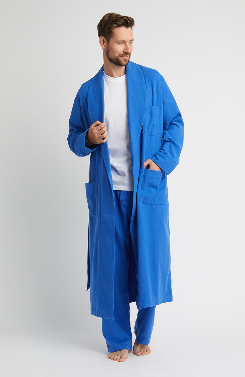 Brushed Cotton Gown (jmdg) - Bright Blue | Bonsoir of London