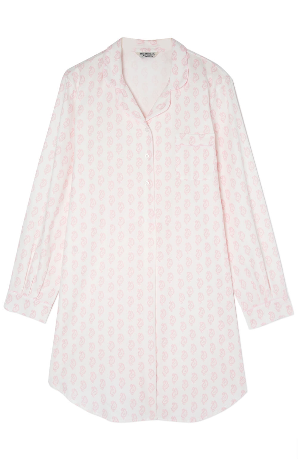 Maternity Brushed Cotton Nightshirt (mbsl) - Pink Paisley