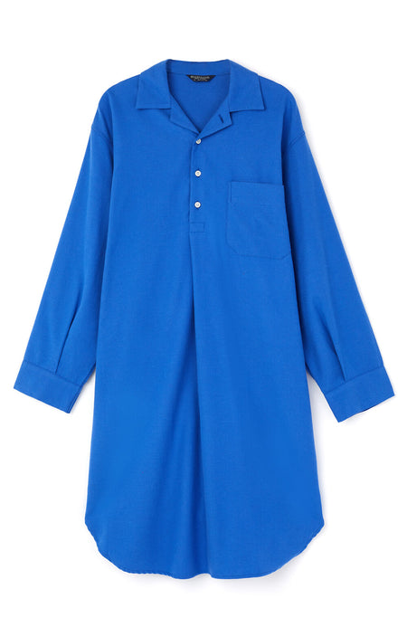 Brushed Cotton Nightshirt (jmnm) - Bright Blue | Bonsoir of London