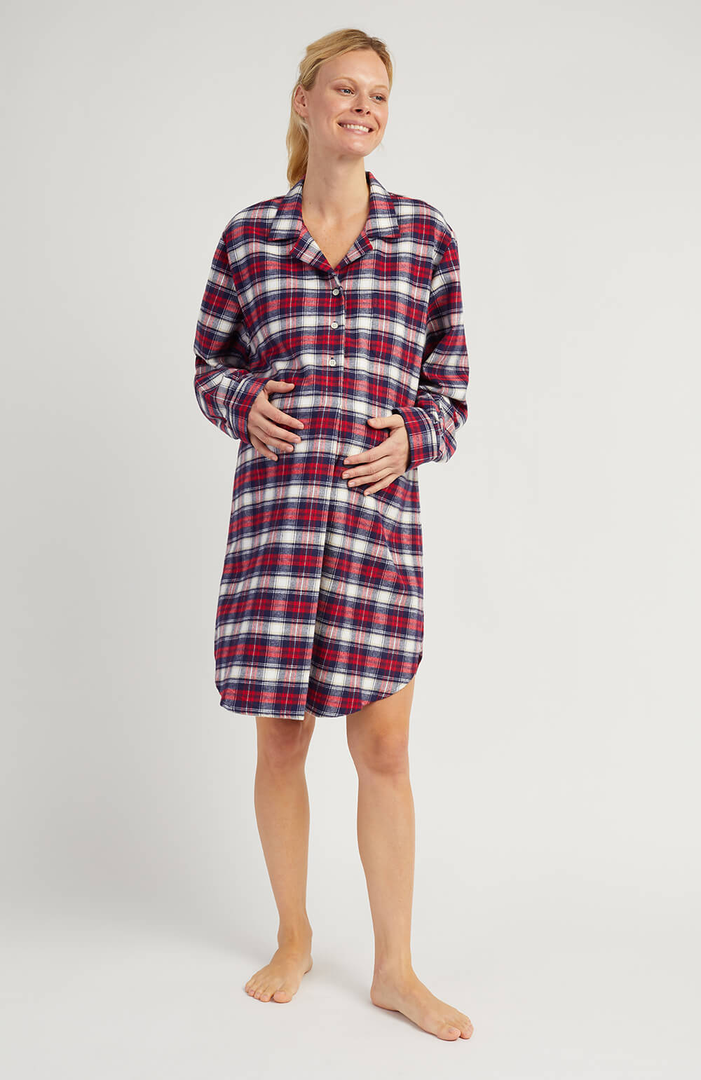 Maternity Brushed Cotton Nightshirt (mbsl) - Stewart