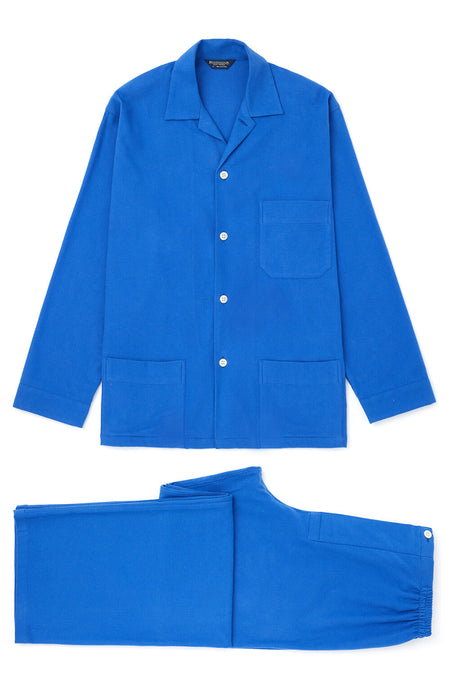 Brushed Cotton Bright Blue Pyjamas | Bonsoir of London