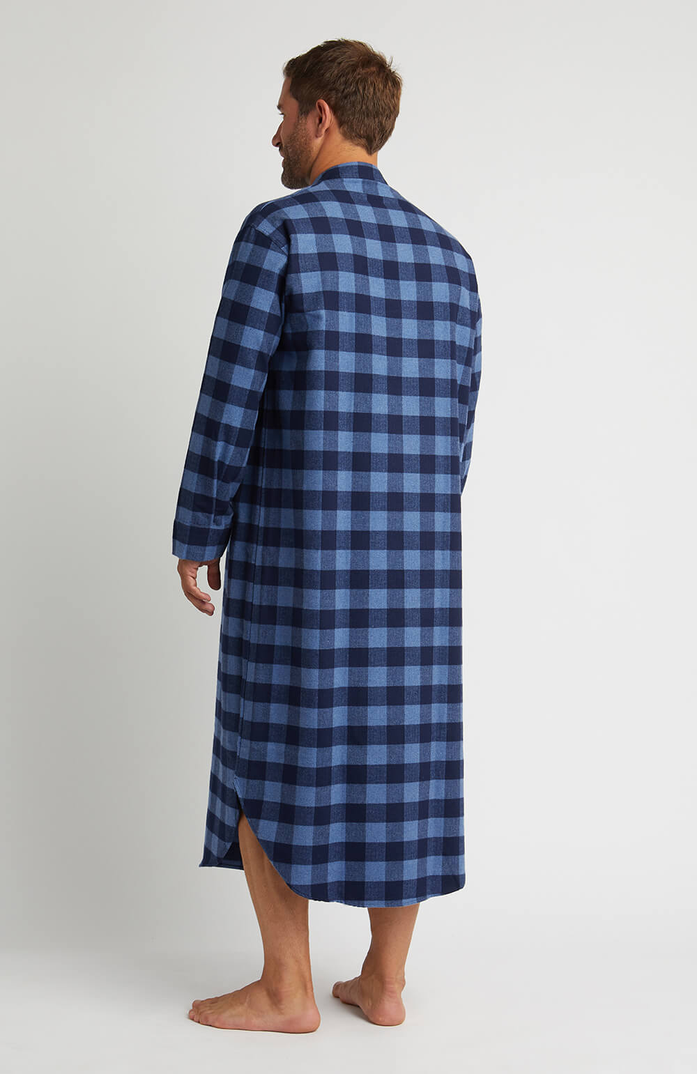 Brushed Cotton Grandad Nightshirt (jmnl) - Howard | Bonsoir of London
