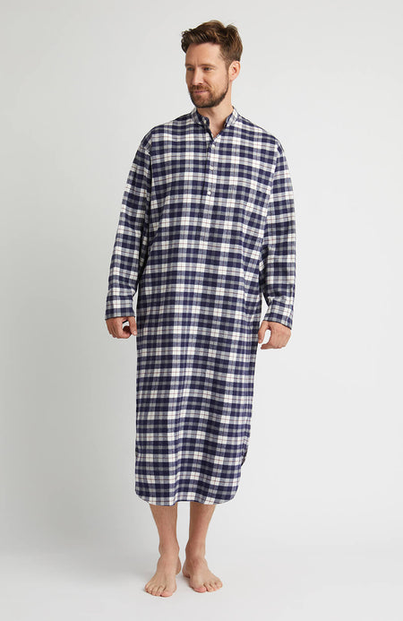 Brushed Cotton Grandad Nightshirt (jmnl) - McKellen | Bonsoir of London
