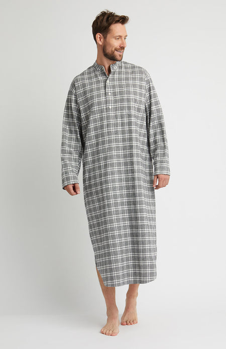 Brushed Cotton Grandad Nightshirt (jmnl) - Rathbone | Bonsoir of London