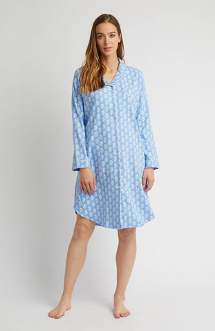Brushed Cotton Grandad Nightshirt (tllg) - Bright Blue