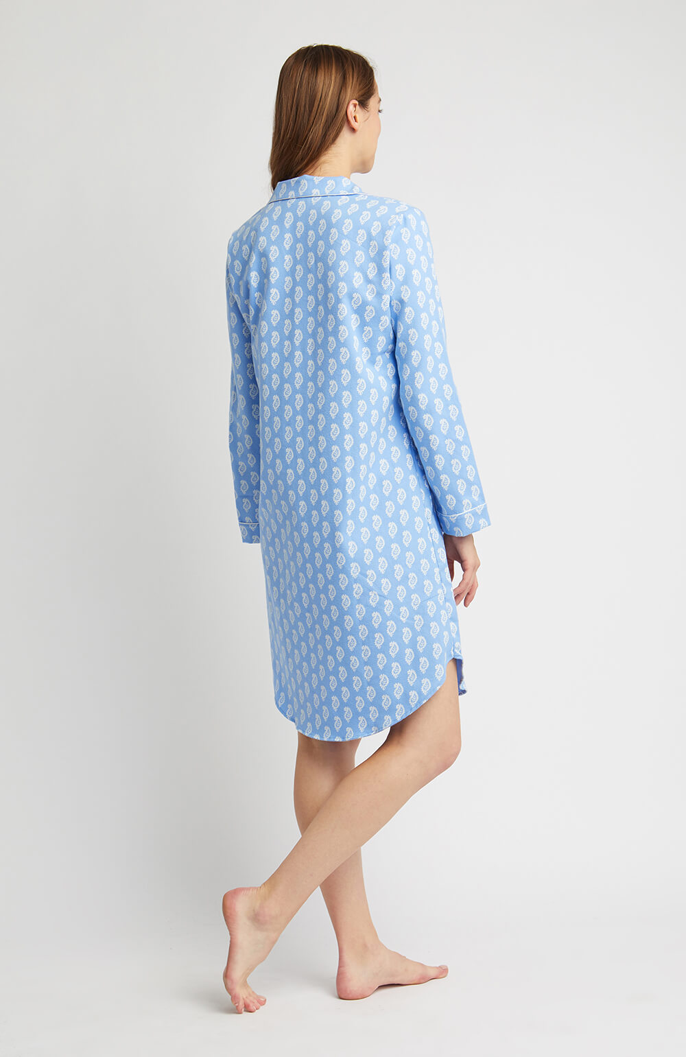 Brushed Pastel Nightshirt (blnf) - Blue Paisley | Bonsoir of London