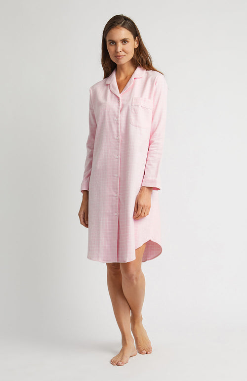 Brushed Pastel Nightshirt (blnf) - Pink Check | Bonsoir of London