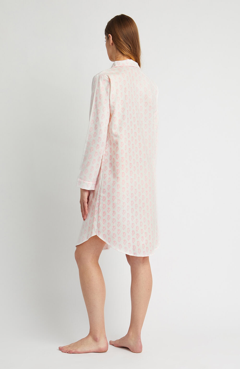 Brushed Pastel Nightshirt (blnf) - Pink Paisley | Bonsoir of London