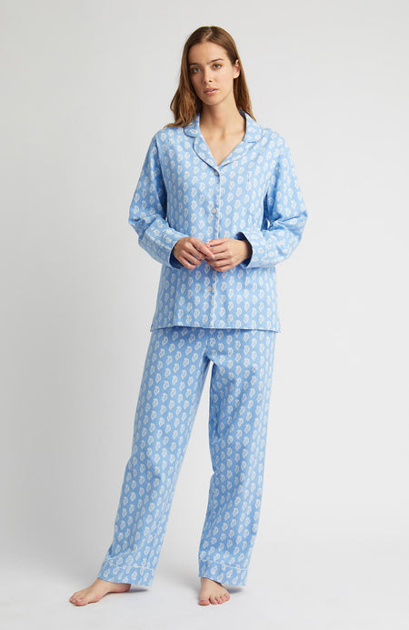 Brushed Pastel Pyjamas (blps) - Blue Paisley | Bonsoir of London