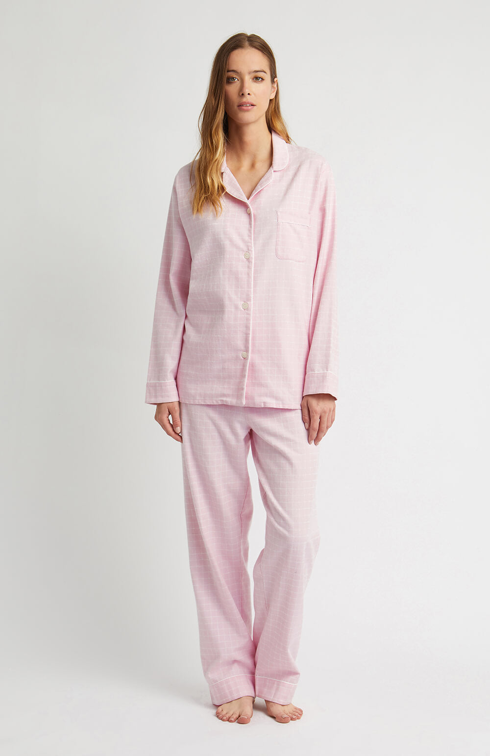 Brushed Pastel Pyjamas (blps) - Pink Check | Bonsoir of London