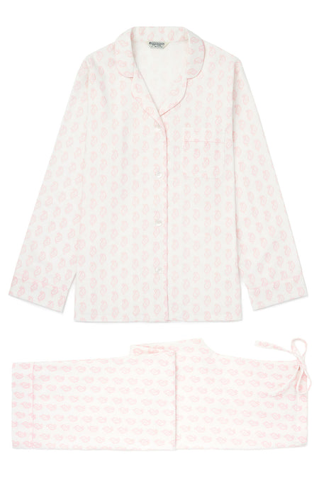 Brushed Pastel Pyjamas (blps) - Pink Paisley | Bonsoir of London