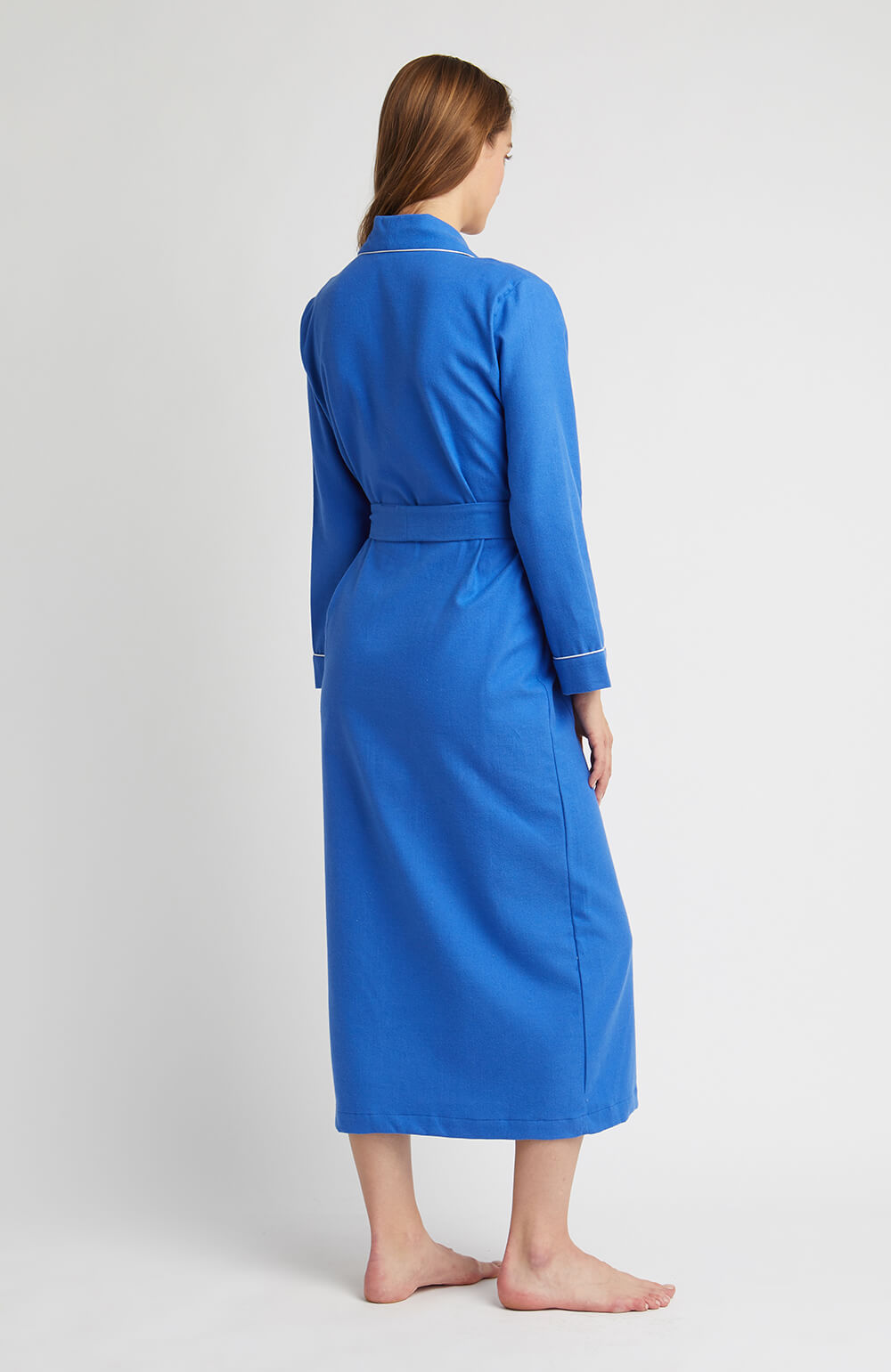 Brushed Tartan Gown (tldg) - Bright Blue | Bonsoir of London