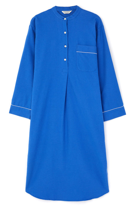 Brushed Tartan Grandad Nightshirt (tllg) - Bright Blue | Bonsoir of London
