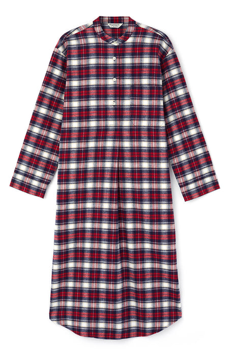 Brushed Tartan Grandad Nightshirt (tllg) - Stewart | Bonsoir of London