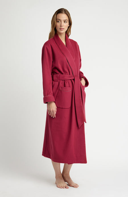 Luxury Raspberry Silk-Lined Cashmere Robe | Bonsoir of London