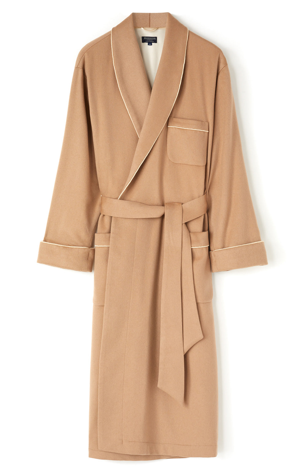 Luxury Camel Silk Lined Cashmere Robe | Bonsoir of London
