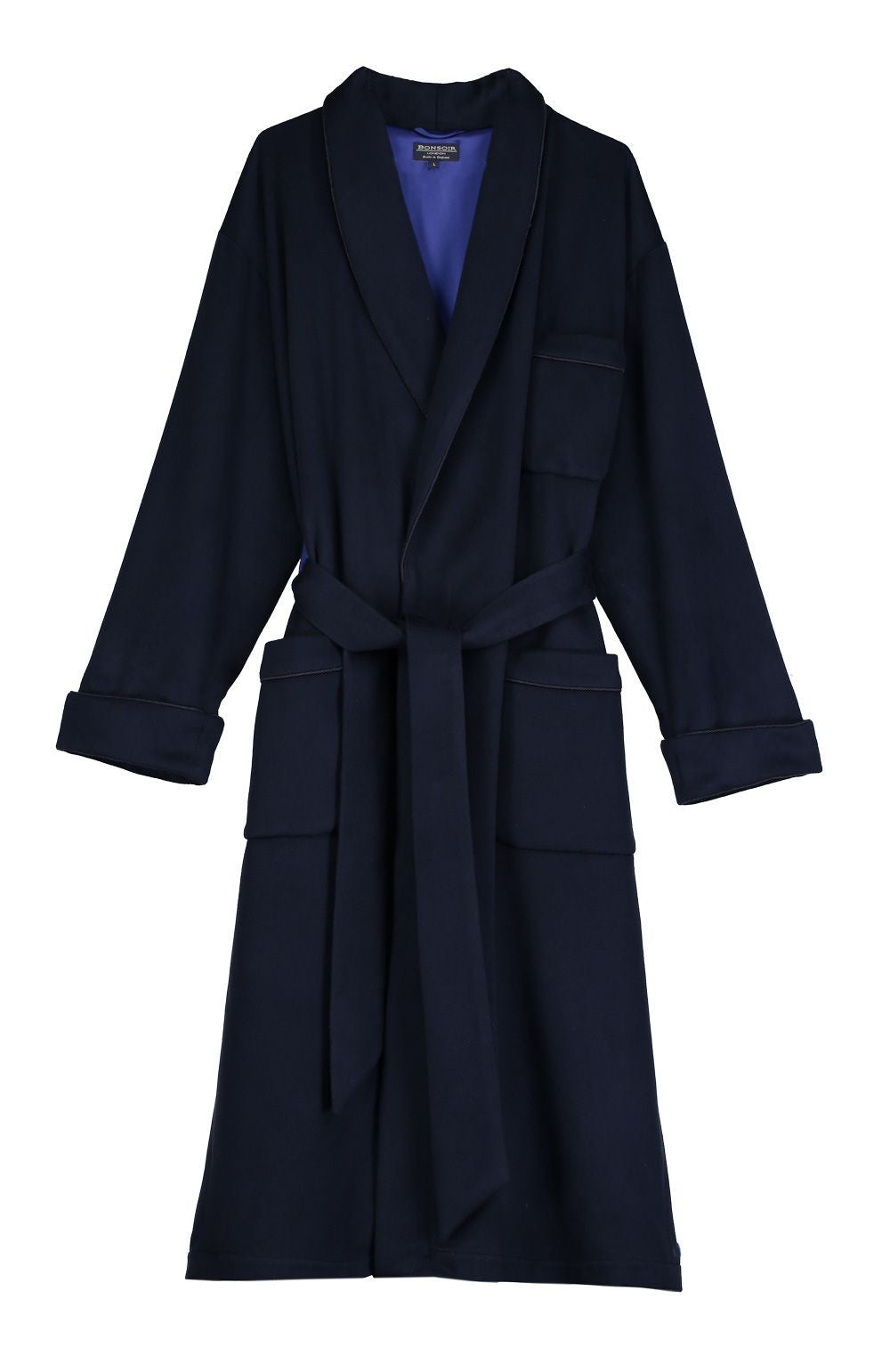 SILK LINED CASHMERE ROBE - NAVY