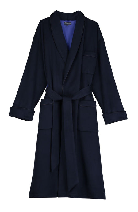 Men's Luxury Navy Silk-Lined Mens Cashmere Dressing Gown | Bonsoir of London