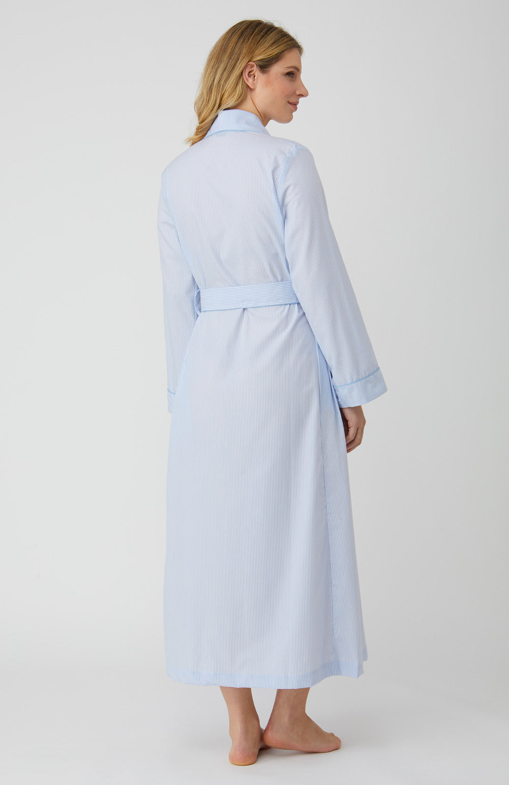 Classic Cotton Blue Fine Stripe Gown | Bonsoir of London