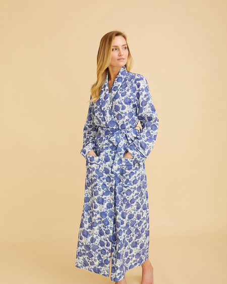 Women's Classic Cotton Dressing Gown – Yves Blue Floral