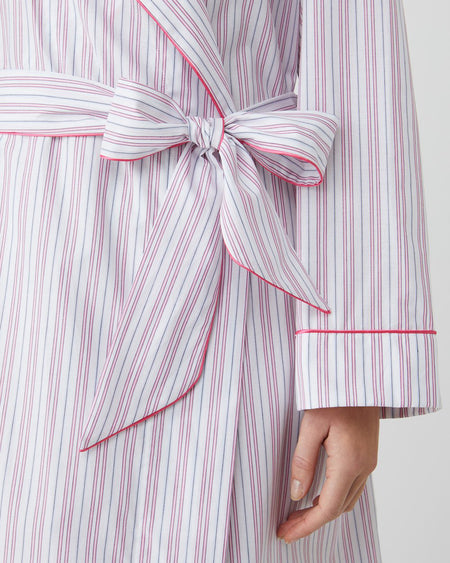 Classic Cotton White and Pink Stripe Gown | Bonsoir of London