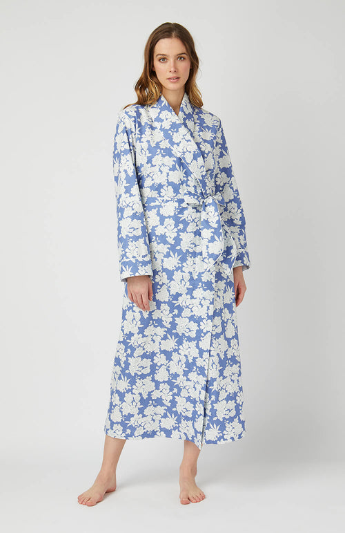 CLASSIC COTTON GOWN - BLUE FLORAL | Bonsoir of London