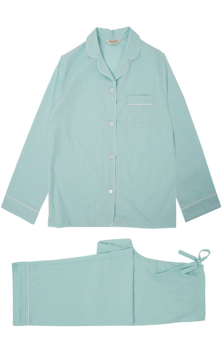 Classic Cotton Aqua Check Pyjamas | Bonsoir of London