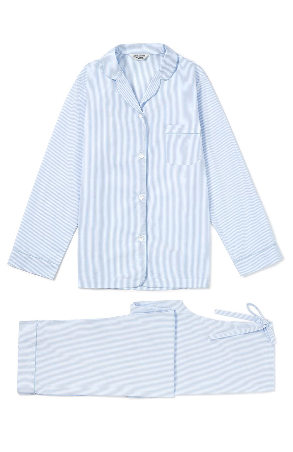 Classic Cotton Blue Fine Stripe Pyjamas | Bonsoir of London