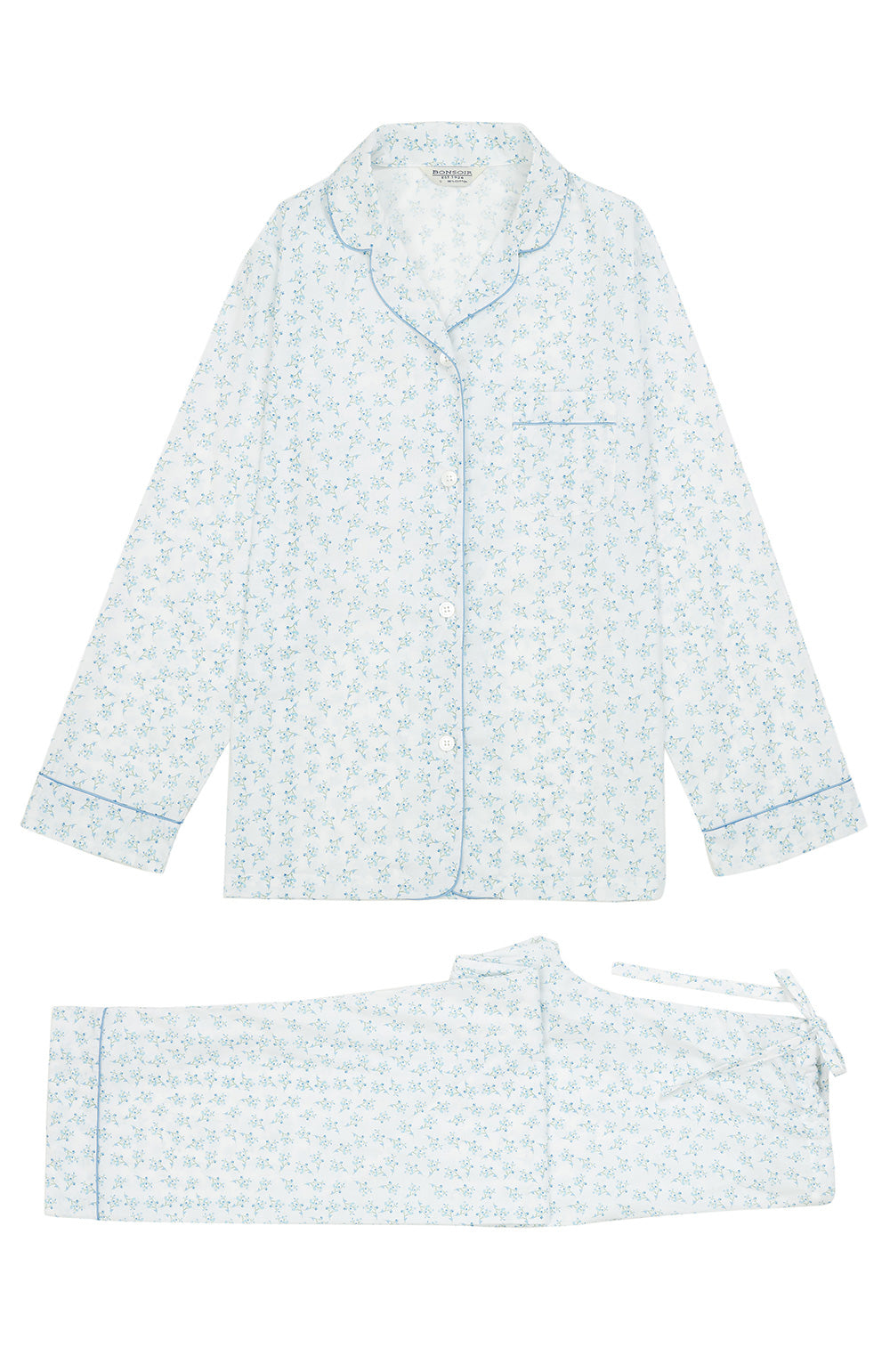 Classic Cotton Blue Flower Pyjamas | Bonsoir of London