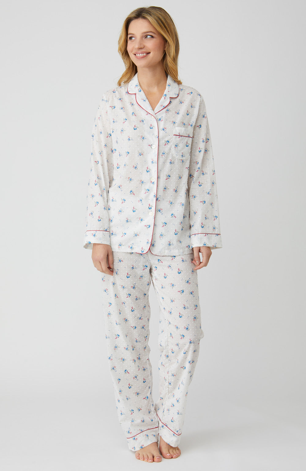 Classic Cotton Cream Posy Pyjamas | Bonsoir of London