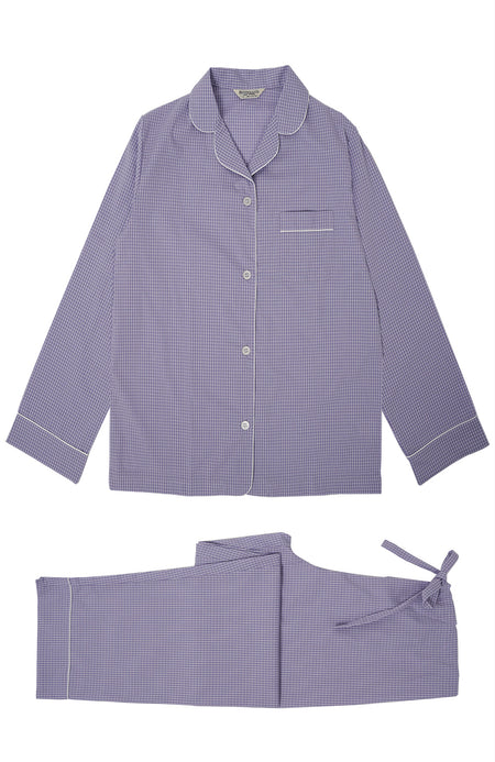 Classic Cotton Lilac Check Pyjamas | Bonsoir of London