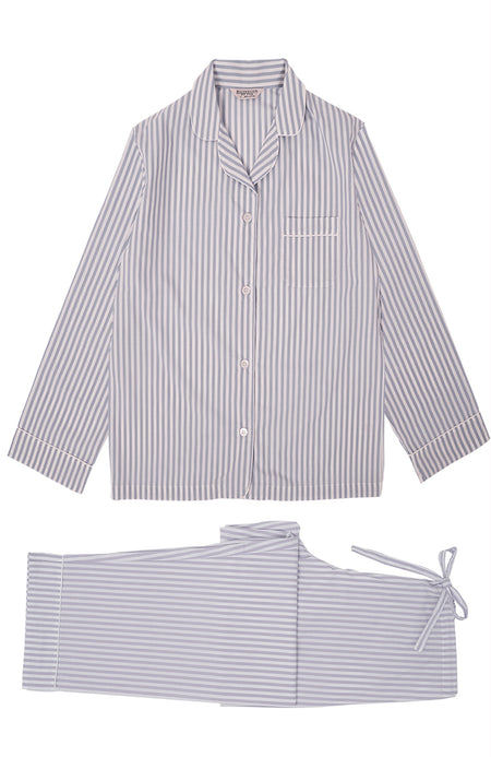Classic Cotton Lilac Stripe Pyjamas | Bonsoir of London