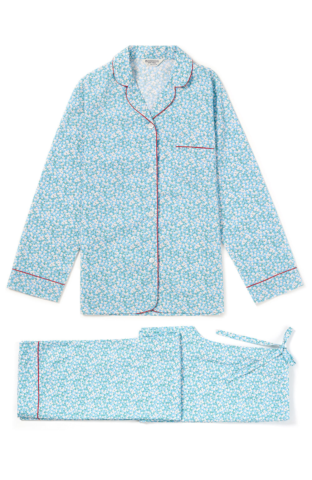 Classic Cotton Pale Blue Floral Pyjamas | Bonsoir of London