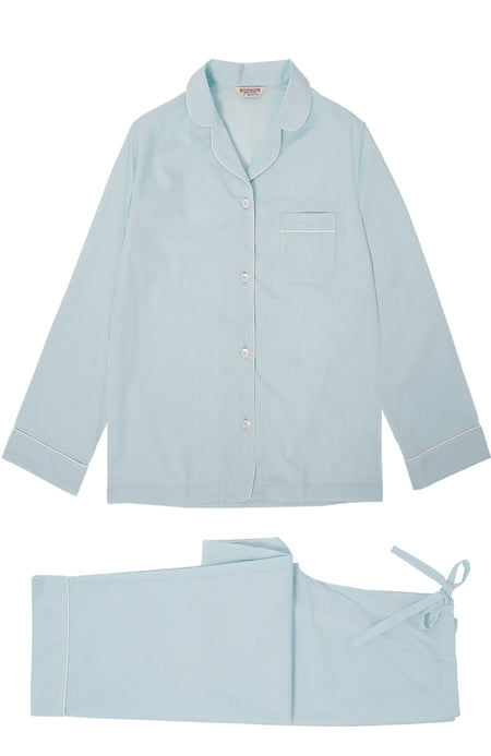 Classic Cotton Pale Aqua Pyjamas | Bonsoir of London