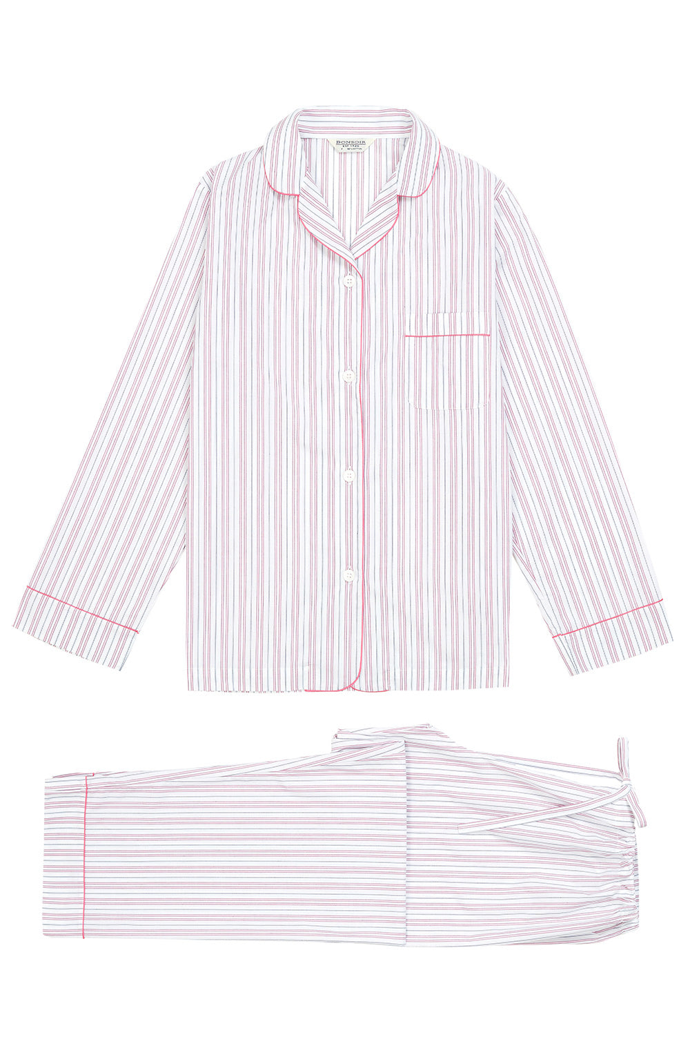 Classic Cotton White and Pink Stripe Pyjamas | Bonsoir of London