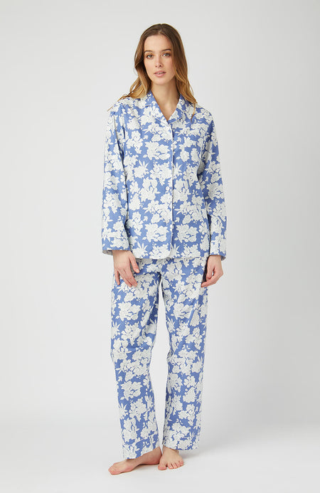 Cotton Pyjamas (clfp) - Blue Floral | Bonsoir of London