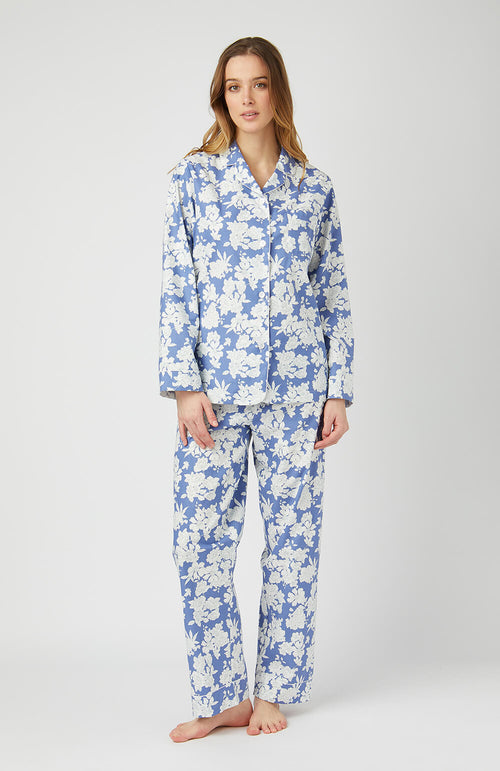 CLASSIC COTTON PYJAMAS - BLUE FLORAL | Bonsoir of London