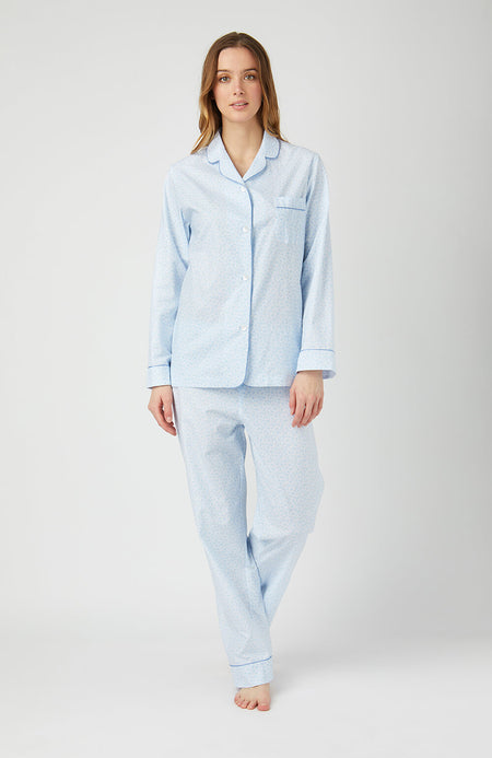 Cotton Pyjamas (clfp) - Blue Paisley | Bonsoir of London