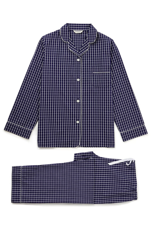 Classic Cotton Pyjamas (clfp) - Navy Check | Bonsoir of London