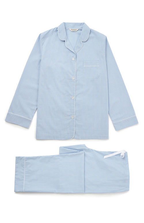 CLASSIC COTTON PYJAMAS - SKY GINGHAM | Bonsoir of London
