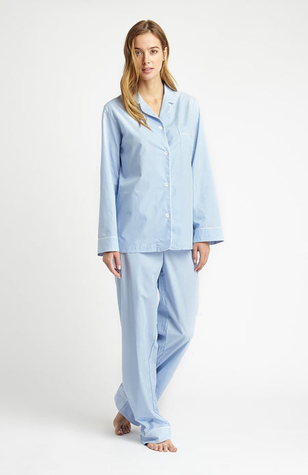 Classic Cotton Pyjamas (clfp) - Sky Gingham | Bonsoir of London