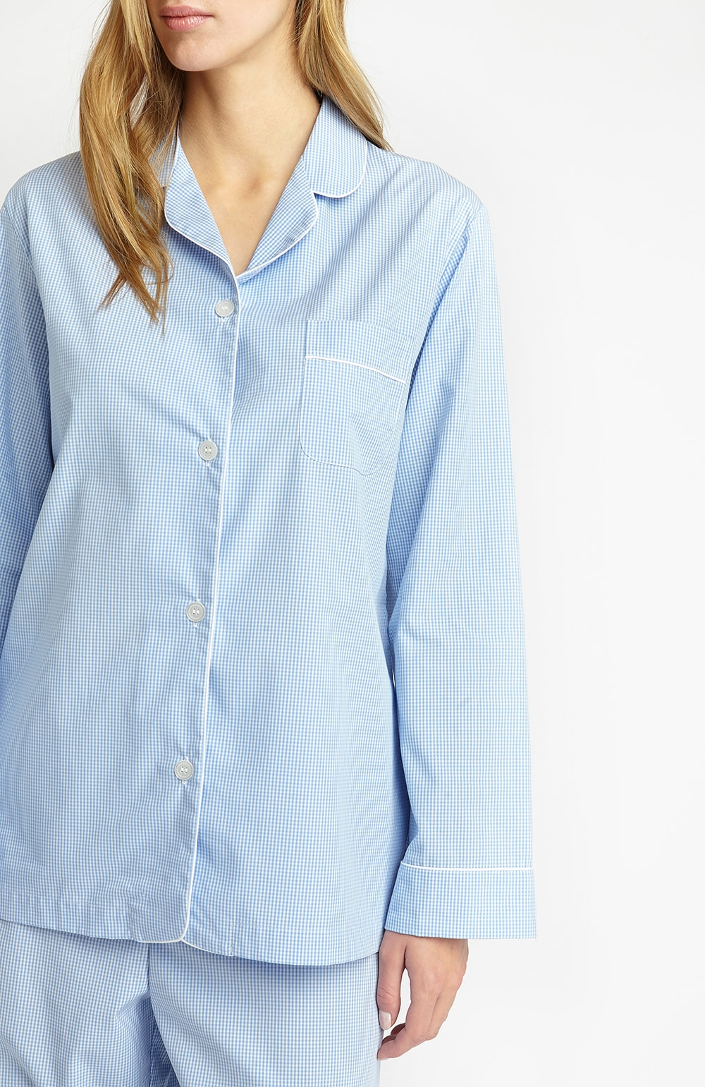 Classic Cotton Sky Gingham Pyjamas | Bonsoir of London