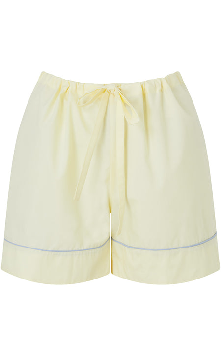 Classic Cotton Pyjama Shorts (clfs) - Buttermilk | Bonsoir of London